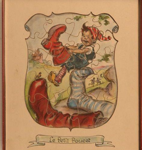 Germaine BOURET (d'après). Le Petit Poucet. Boîte et son puzzle en bois illustré…