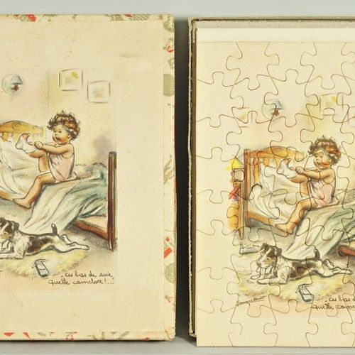 Germaine BOURET (d'après) Box of two illustrated wooden puzzles and their models…