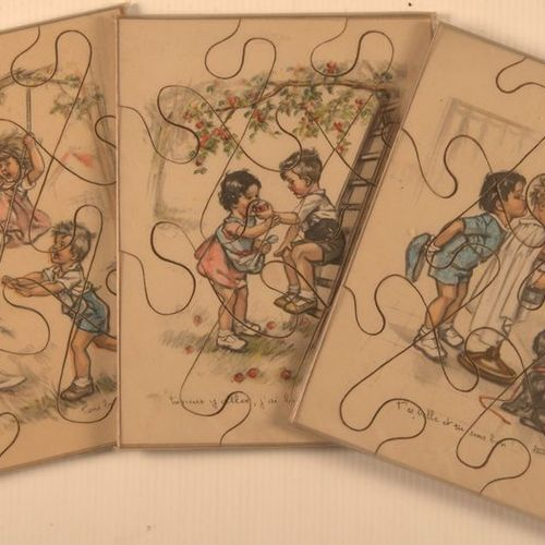 Germaine BOURET (d'après). Set of three illustrated wooden puzzles, dated 1937 1…