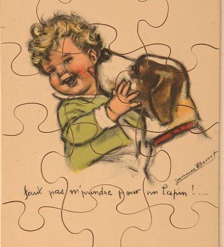 Germaine BOURET (d'après). Réunion de 5 puzzles illustrés en bois et carton de d…