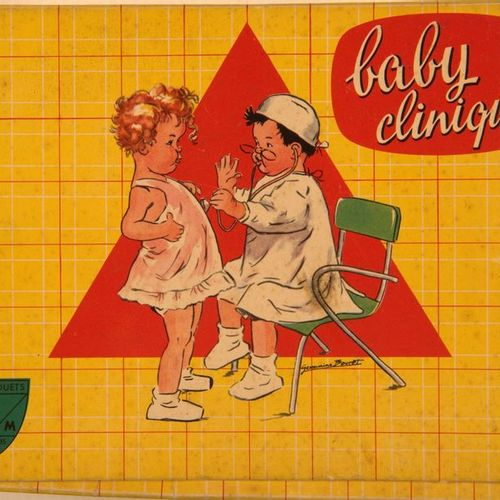 Germaine BOURET (d'après). Two boxes of illustrated games: Baby Clinique and Bab…