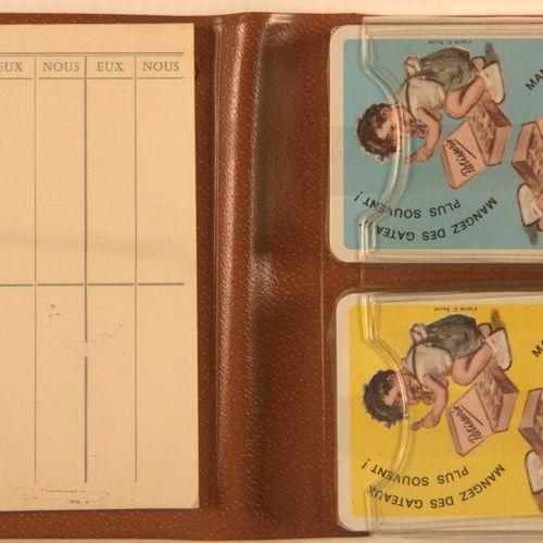 Germaine BOURET (d'après). Boite contenant 2 jeux de 54 cartes illustrées à l'ét…