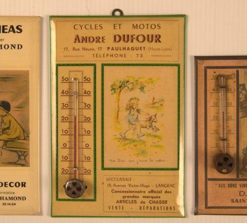 Germaine BOURET (d'après). Ensemble de trois thermomètres publicitaires en glaco…
