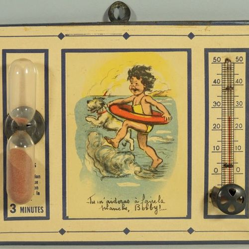 Germaine BOURET (d'après). Set of three illustrated glacoid advertising thermome…