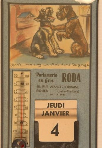Germaine BOURET (d'après). Set of two advertising thermometers illustrated after…