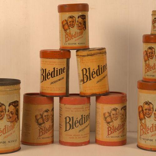 Germaine BOURET (d'après). Set of 8 illustrated tin cans for the Blédine Jacquem…