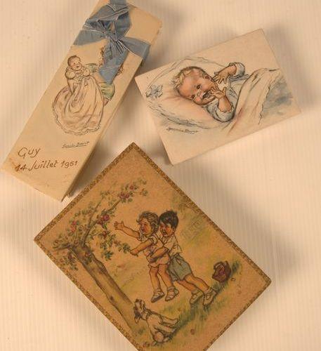 Germaine BOURET (d'après). Set of 10 illustrated cardboard boxes: boxes for suga…