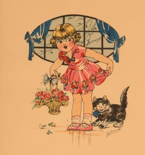 GERMAINE BOURET Bel ensemble de 7 gravures et lithographies en couleurs, années …