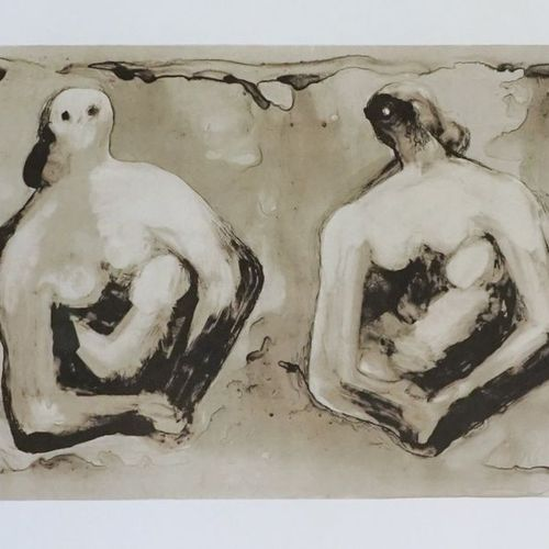 Henry MOORE (1898 1986). Sisters with children, 1979. Lithography. Signed lower …