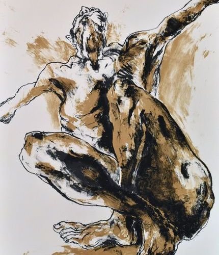 Lydie ARICKX (née en 1954). Begging him. Two colour lithographs. Signed and just…