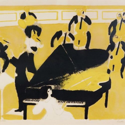 André BRASILIER (né en 1929). Concerto for piano and orchestra. Color lithograph…