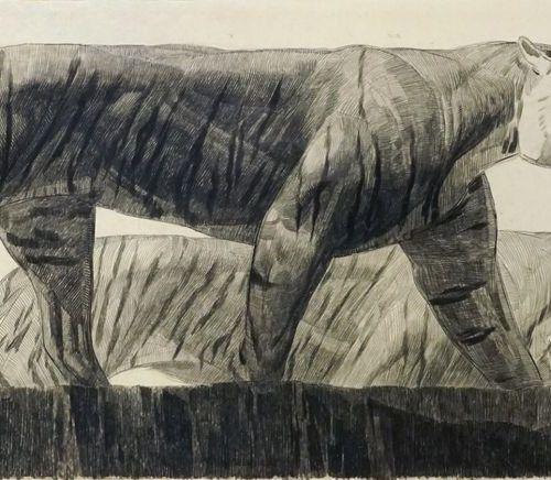 Paul JOUVE (1878 1973). Deux tigres marchant, circa 1925. Fusain sur papier. Sig…