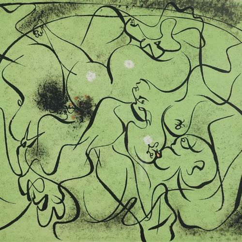 André MASSON (1896 1987). Characters. Lithography in green. Signed at the bottom…