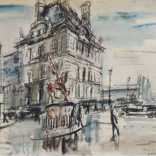 GEN PAUL (1895 1975). Pyramid Square, 1925. Gouache. Signed lower right and titl…