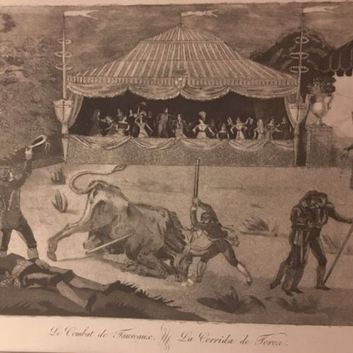 [GRAVEUR BASQUE ?]. Private bull fight scene... [Spain?], unpublished, [c. 1800]…