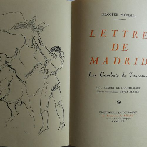 Brayer / MERIMEE (Prosper). Letters from Madrid Bullfighting... Preface by Henry…