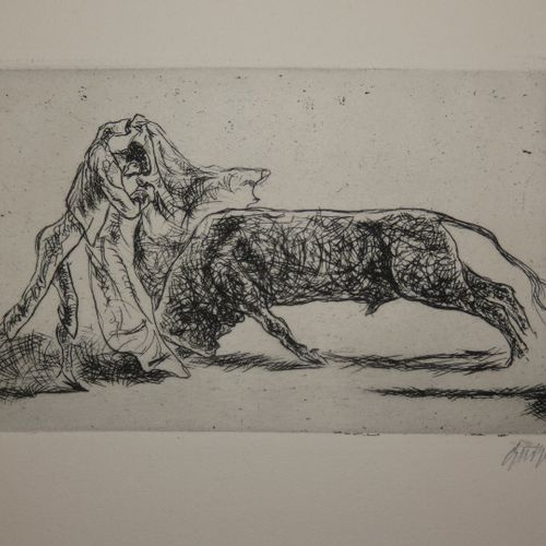 GEIGER (Willi). Corridas de toros. 21 Original Radierungen von Willi Geiger mit …