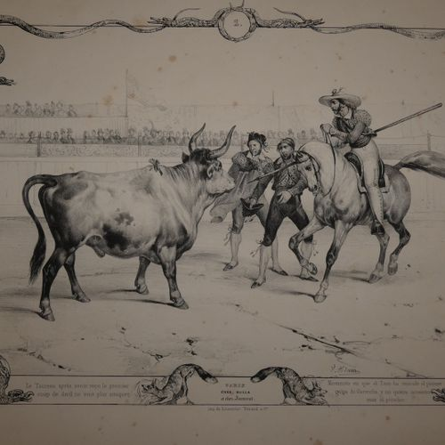 ADAM (Victor). Bull fighting. Twelve subjects drawn from nature Corrida de toros…