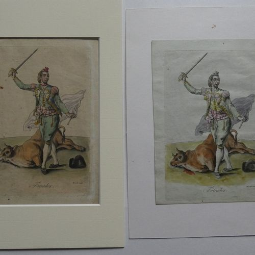 MIXELLE [Sculp.]. The ToreadorS.L., unpublished, [ca 1750]... Woodcut in period …