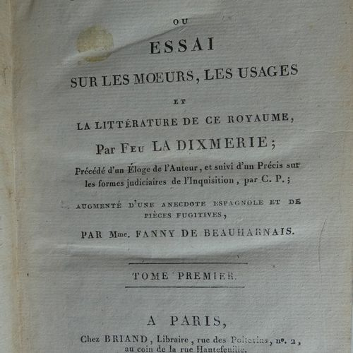 LA DIXMERIE (Nicolas BRICAIRE de). Letters about Spain or Essay on the Walls and…