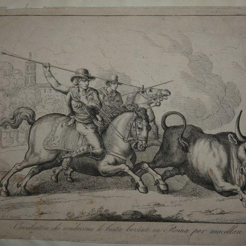 PINELLI. Cavalcature che conduco le bestie in Roma per Macellare... Rome, no pub…