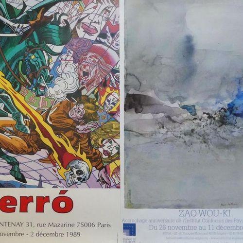 DIVERS (14 affiches et affichettes) ERRO PICASSO GOETZ HOCKNEY TOBIASSE ZAO WOU …