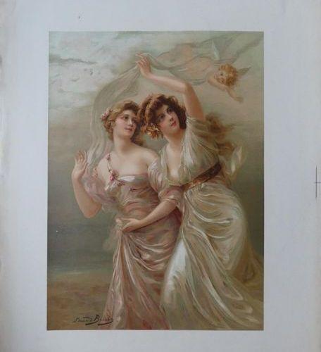 BISSON Edouard (1856 1939) et ANONYME (5) FEMMES Imprimerie Sirven, Paris and wi…
