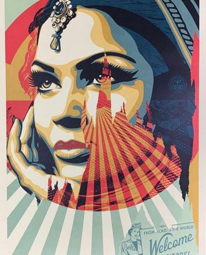 Shepard FAIREY (né en 1970) WELCOME VISITORS Lithograph Signed and dated in penc…
