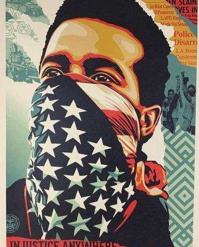 Shepard FAIREY (né en 1970) INJUSTICE ANYWHERE THREATENS JUSTICE EVERYWHERE Lith…
