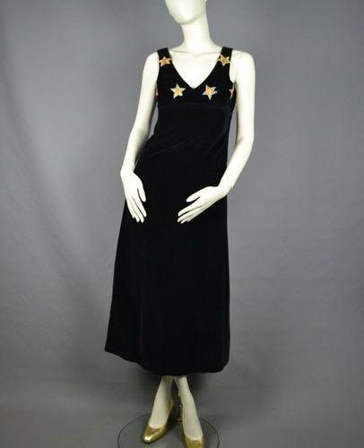MODE VINTAGE 70's long dress in velvet, stars embroidered with lurex thread, siz…