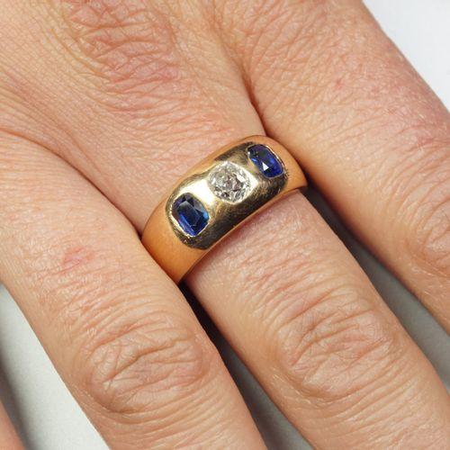 Anneau large en or jaune 18K (750/oo) centré d'un diamant taille ancienne calibr…