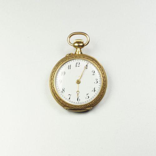 Montre de col en or jaune 18K (750/oo), lunette agrémentée d'une guirlande flora…