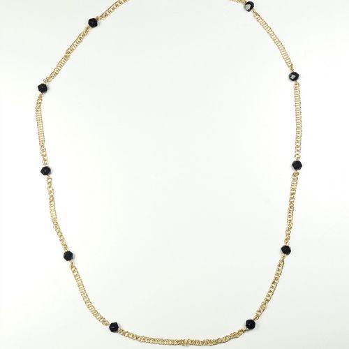 Collier ancien en or jaune 18K (750/oo) maille Vellave agrémenté de 10 perles d'…