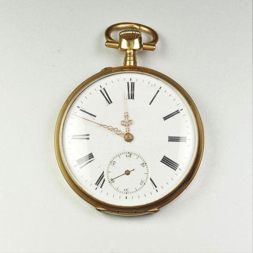 Montre de gousset en or jaune 18K (750/oo), cadran rond à fond émaillé blanc (fê…
