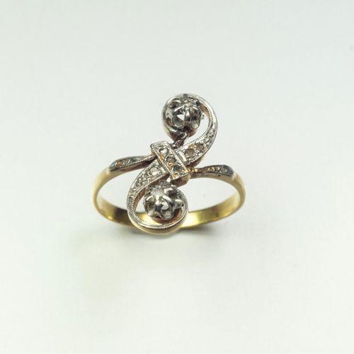 """Bague """"Toi et Moi"""" en or 18K (750/oo) de deux tons sertie de deux diamants taill…"""