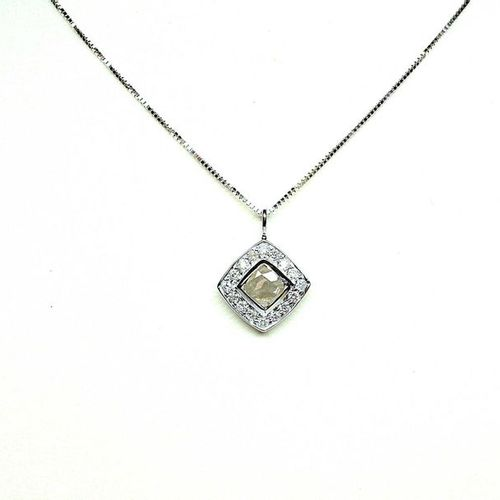 White gold pendant centred on a faceted square diamond weighing 0.35 c approx. I…
