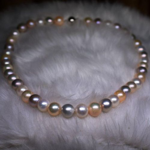 Important necklace natural cultured pearls diameter 10 10.5 mm in natural multic…