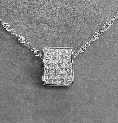Pretty modern pendant set with 24 princes cut diamonds in invisible setting for …