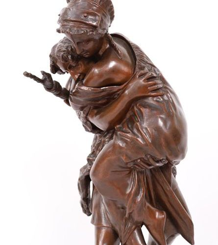 "BRONZE ""LA TRAVERSEE DU GUE"" BY V. CODINA (19th century)  Nice subject with a br…"