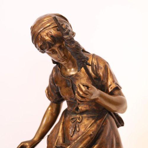 "BRONZE ""LA JEUNE FILEUSE"" by Mathurin MOREAU (1822 1912)  E, bronze with a mordo…"