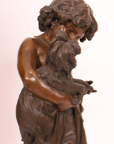 "BRONZE ""CHILDREN WITH DOGS, A DOLL AT HIS FEET"" by Francesco BARZAGHI (1839 1892…"