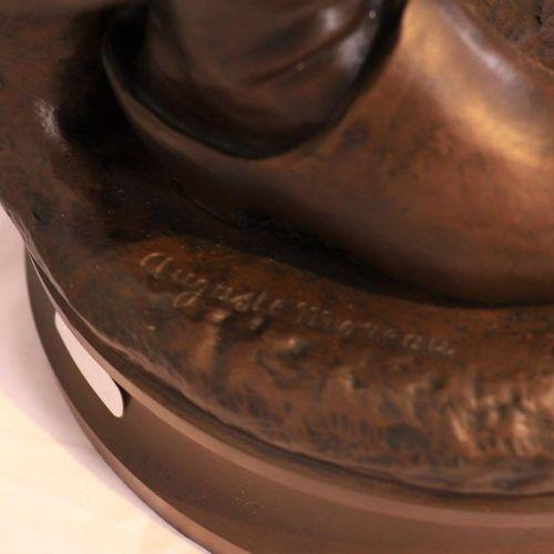 """BRONZE """"JEUNE PAYSANNE A LA FOURCHE"""" by Auguste MOREAU (1834 1917)  Sculpture pa…"""