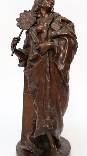 "EASTERN BRONZE ""EGYPTIAN WOMAN WITH A FAN ADDED TO A COLUMN ENGRAVED WITH HIEROG…"