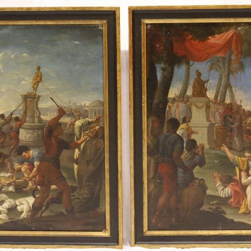 """VERY NICE PAIR OF OILS """"THE IDOLE"""" AND THE """"ICONOCLASTES"""" OF Jacques STELLA (159…"""