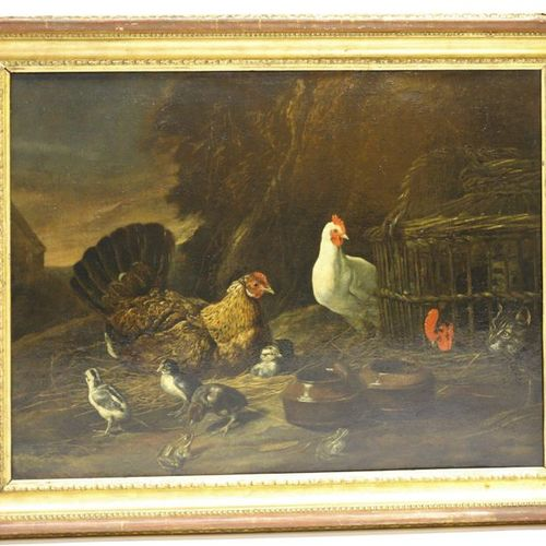 "VERY LARGE AND PRETTY TABLE ""A LOW COURSE SCENE; A CHICKEN PROTECTING ITS PUSHIO…"