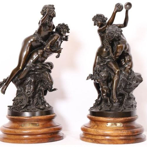 "PAIR OF BRONZE GROUPS ""FAUNA AND BACCHANTE AND YOUNG FAUNA OR GRAPE HARVEST AND …"