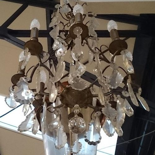 VERY NICE BRONZE LIGHTING and crystal plates with eight light arms  70 x 40 cm a…