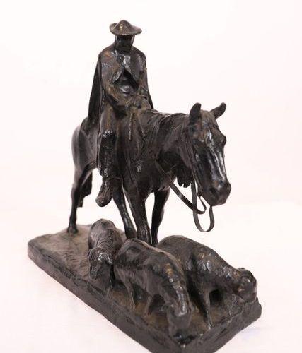 "BRONZE ""HORSE HORSE HORSE WITH FOUR SHEEPS"" DEVArthur HOFFMANN (1874 1960)  Scul…"