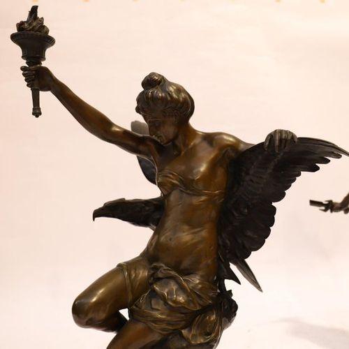 """BRONZE """"GENIE ET LUMIERE D'Emile Louis PICAULT (1833 1915)  Very large and beaut…"""