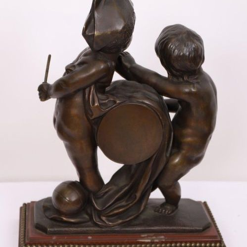 """BRONZE BAND """"CHILDREN ON DRUMS""""  In patinated bronze, dated """"1876"""", on a rectang…"""